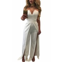 Red Wide Slit Legs Jumpsuit White