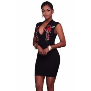 Rose Embroidery Black Mini Dress