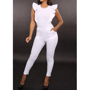Round Neck Flounce Solid Color Stylish Jumpsuit For Women white black