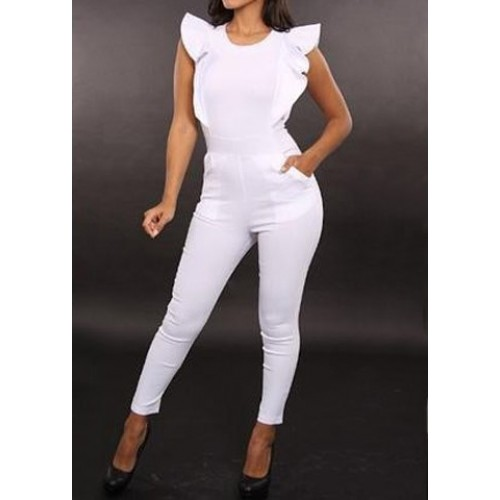 Round Neck Flounce Solid Color Stylish Jumpsuit For Women white black ...
