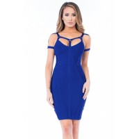 Royal Blue Strappy Bandage Dress Black