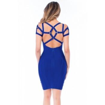 Royal Blue Strappy Bandage Dress Black