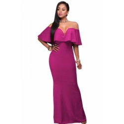 Ruffle Off Shoulder Maxi Party Dress Rosy Blue Red Black