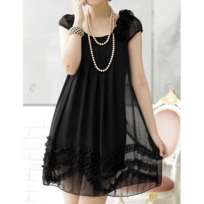 Ruffled Casual Scoop Neck Solid Color Stereo Flower Short Sleeve Chiffon Dress For Women black