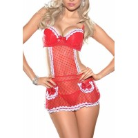 Ruffled Heart Appron Chemise Set