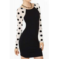 Scoop Neck Long Sleeves Polka Dot Backless Stylish Dress For Women black white