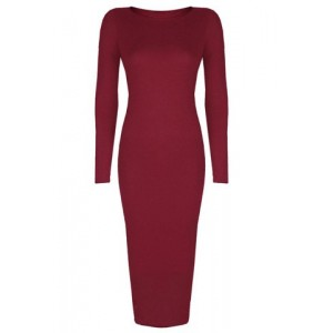 Scoop Neck Long Sleeves Solid Color Sexy Dress For Women red black