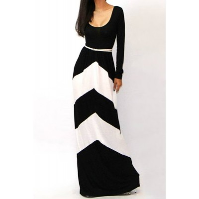 Sexy Color Block Stripe Comfy Round Neck Long Sleeve Maxi Dress For Women white black red