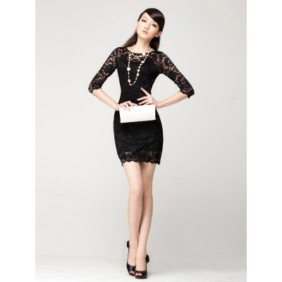Sexy Goddess Three Quarter Sleeve Evening Party Lace Dress For Women black white