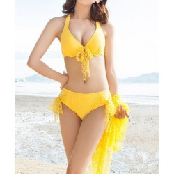 Sexy Halter Push-Up Solid Color Bikini Set + See-Through Blouse Three-Piece Set For Women yellow pink blue