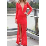 Sexy Lace Plunging Neck Long Sleeve Backless Furcal Dress For Women red black white blue