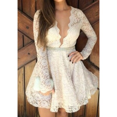 Sexy Lace Plunging Neck Long Sleeve Spliced Dress For Women white