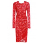 Sexy Lace Round Collar Long Sleeve Asymmetrical Bodycon Dress For Women red
