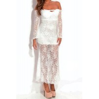Sexy Lace Slash Collar Long Sleeve Spliced See-Through Dress For Women white