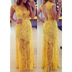 Sexy Lace Stand-Up Collar Sleeveless Backless See-Through Dress For Women yellow