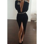 Sexy Plunging Neck Long Sleeve High-Furcal With Belt Dress For Women black red