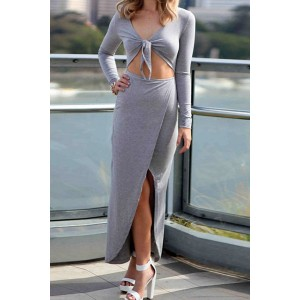 Sexy Plunging Neck Long Sleeve Solid Color Lace-Up Furcal Hollow Dress For Women gray black