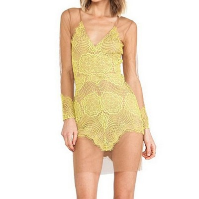 Sexy Plunging Neck Long Sleeve Spliced See-Through Dress For Women yellow black