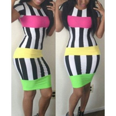 Sexy Round Collar Short Sleeve Bodycon Striped Color Block Dress For Women