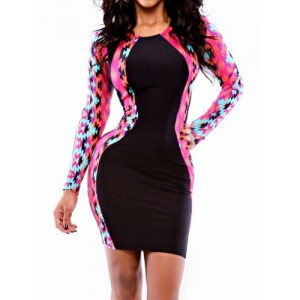 Sexy Scoop Neck Long Sleeve Printed Spliced Skinny Dress For Women