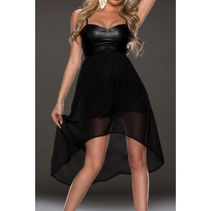 Sexy Spaghetti Strap Sleeveless Spliced Asymmetrical Dress For Women black