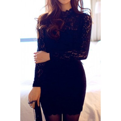 Sexy Turtle Neck Long Sleeve Lace Solid Color Backless Bodycon Dress For Women black