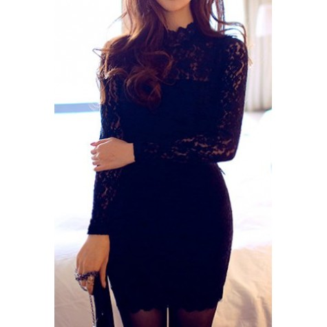 216d45496e4a5 Sexy Turtle Neck Long Sleeve Lace Solid Color Backless Bodycon Dress For  Women black Zoom. Product ...