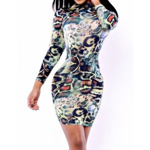 Sexy Turtle Neck Long Sleeve Leopard Print Slimming Skinny Dress For Women