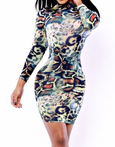 Sexy Turtle Neck Long Sleeve Leopard Print Slimming Skinny Dress For Women 27947dea2