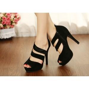 Sexy Women's Sandals With Stilettlo Heel and Zipper Design black