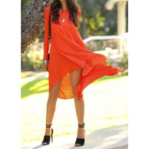 Simple Round Neck Long Sleeve Solid Color Chiffon Asymmetrical Dress For Women jacinth