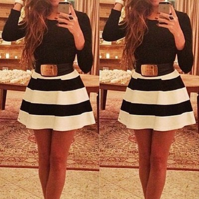 Simple Scoop Neck Long Sleeve Color Block Striped Dress For Women white black