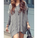 Simple V-Neck Long Sleeve Solid Color Loose-Fitting Knitted Dress For Women gray white