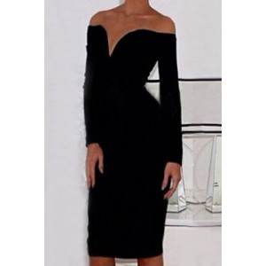 Slash Neck Long Sleeves Solid Color Sexy Dress For Women black