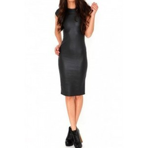 Slimming Crew Neck Short Sleeve Bodycon Black PU Dress For Women black