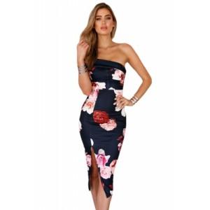 Sloping Shoulder Bodycon Floral Midi Dress