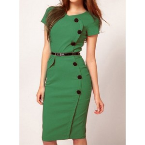 Solid Color Casual Scoop Neck Single Breasted Short Sleeve Dress For Women green pink black
