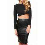 Solid Color Long Sleeves Backless Short T-Shirt and Skirt Sexy Suits For Women black