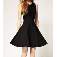Solid Color Round Collar Sleeveless Hollow Out Design Floral Print Wide Hem Dress For Women black