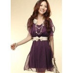 Solid Color Scoop Neck Short Sleeves Sweet Style Flounce Edge Chiffon Dress For Women purple pink white