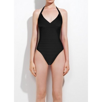 Solid Color Sexy Halterneck One-Piece Swimwear For Women black