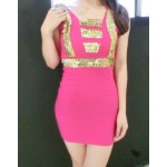 Square Neck Sleeveless Sequin Stylish Dress For Women red blue