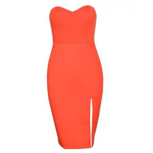 Strapless Off The Shoulder Sleeveless Front Spit Sheath Bodycon Dress yellow black green