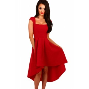 Stripe Dip Hem Midi Swing Dress Red Blue