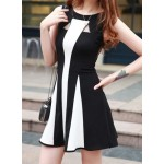 Stylish Color Block Voile Splicing Round Neck Sleeveless Dress For Women black