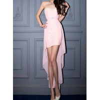 Stylish Lace Embellished Strapless Backless Dress For Women pink white black