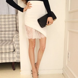 Stylish Lace Splicing Bodycon Solid Color Irregular Hem Zippered Skirt For Women white black
