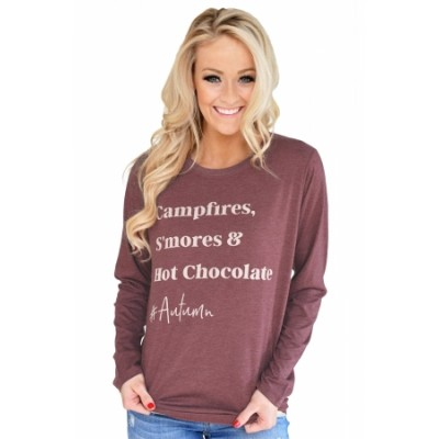Stylish Letter Print Maroon Long Sleeve Top Black