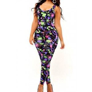 Stylish Scoop Neck Sleeveless Printed Bodycon Slimming Jumpsuit For Women