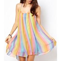 Stylish Spaghetti Strap Backless Colorful Chiffon Dress For Women